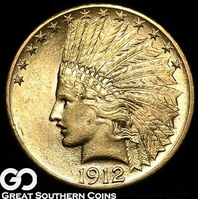 1912 Gold Eagle, $10 Gold Indian, Lustrous Gem BU++ Beauty, ** Free Shipping!