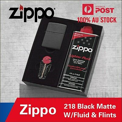 New Zippo Matte Black Lighter Gift Box With Fluids + Flints 90218Gp