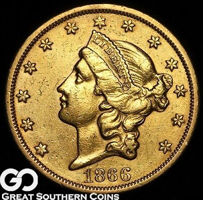 1866-S Gold Double Eagle, $20 Gold Liberty, Tough Date Gold Coin, ** Free S/H!