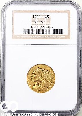 1911 Half Eagle, $5 Gold Indian NGC MS 61 ** Very Nice, Free Shipping!
