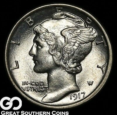 1917-S Mercury Dime, FULL Split Bands, Lustrous Sharp Gem BU++ FB!
