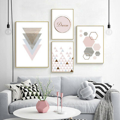 Geometric Triangle Abstract Canvas Poster Wall Art Prints Modern Home Decoration