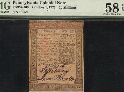 1773 Pennsylvania Colonial Currency Note Paper Money Pa-169 Pmg 58 Epq