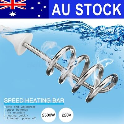 AU 2500W Water Heater Electric Immersion Element Boiler Bath Tub Camping Travel