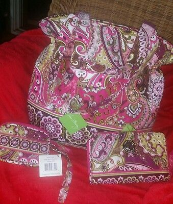 NWT~Vera Bradley VERY BERRY PAISLEY LOT❤ LAURA TOTE💟TURNLOCK WALLET&💜TEC CASE
