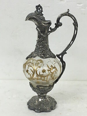 Antica brocca in cristallo dipinto e metallo circa 1890 Antique Jug