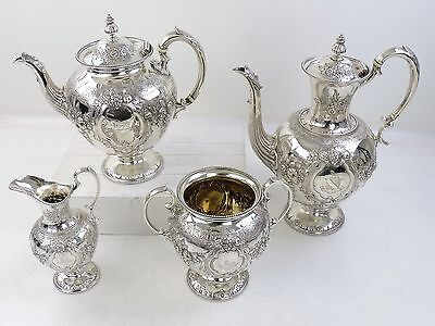 Fabulous Chased VICTORIAN SILVER 4-piece TEA & COFFEE SERVICE SET, London 1869