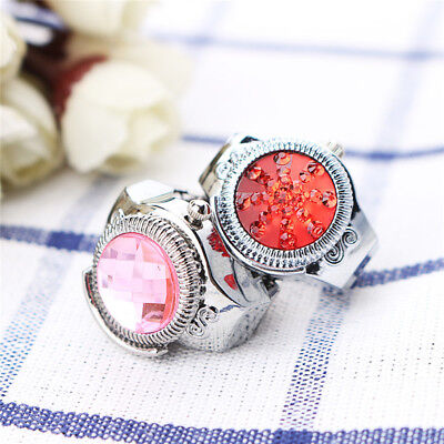 Fashion Women Round Ring Watches Stone Steel Elastic Finger Ring Lady Girl Gift