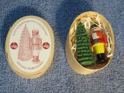 German Miniature Wooden Nutcracker Toy Soldier and Christmas Tree / Wooden Box