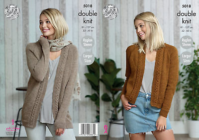 Raglan Sleeve Cable Knit Cardigans Womens Double Knitting Pattern King Cole 5018