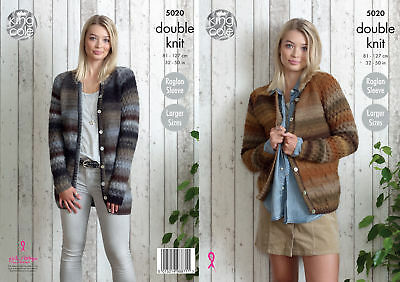 Long or Short Raglan Cardigans Womens Double Knitting Pattern King Cole 5020