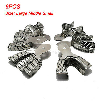1 Set 6PCS Dental Stainless Steel Anterior Impression Trays Large Middle Small