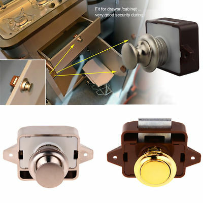 Push Button Drawer Cupboard Door Catch Lock Caravan Motorhome Cabinet Latch Knob