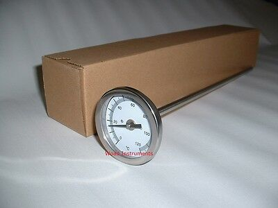 Industrial 300Mm Stainless Steel Probe 0 To 120C Dial Temperature Thermometer
