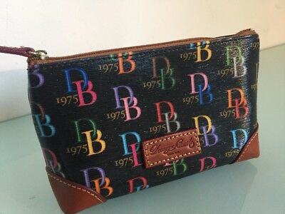 Dooney & Bourke Signature 1975 Black and Brown Leather Cosmetic Bag VVGC