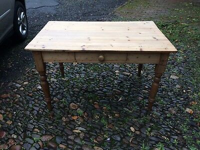 Vintage Antique Pine Small Farmhouse Table With Drawer