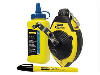 Stanley FatMax 30m Chalk Line Reel Set Kit Blue Chalk & Marker Pen New STA047681