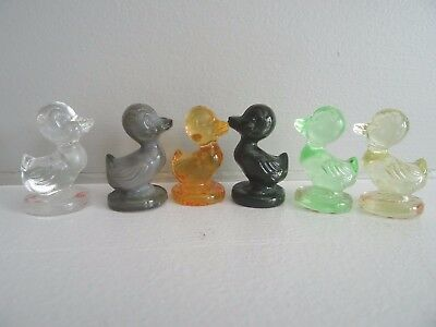 """Lot (6) Boyd Art Glass DEBBIE The DUCKLING Figurines Duck 1.35"""" Tall Multi Color"""