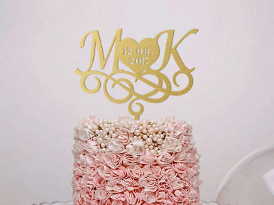 wedding cake topper monogram cake topper custom cake topper letter gold initials