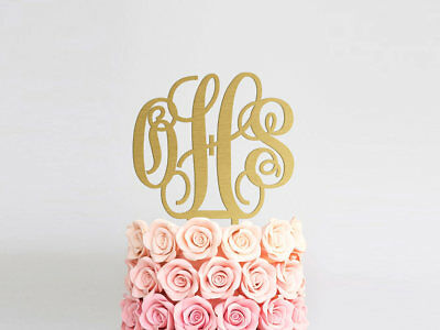 monogram cake topper wedding cake topper rustic initials cake topper gold silver