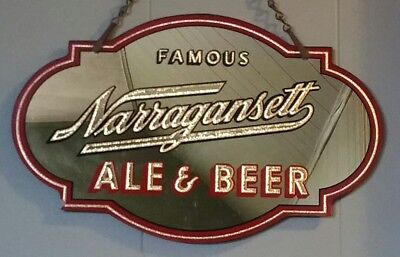 Rare Vintage 1920 Pre Prohibition Reverse Decorated Narragansett Ale & Beer Sign