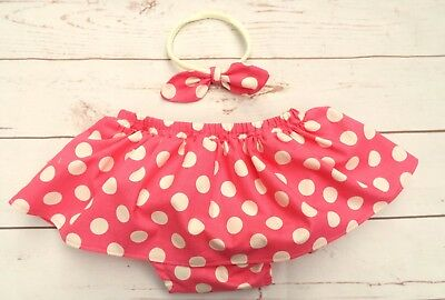 Baby Girl Cake Smash First Birthday Outfit Pink Mouse Polka Dot Headband age 1