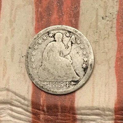 1854 5C Seated Liberty Half Dime 90% Silver Vintage US Coin #MP100