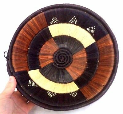 "Beautiful Vintage Estate African Ethnic Hand Woven 11.5"" Basket Bowl!!! B110"