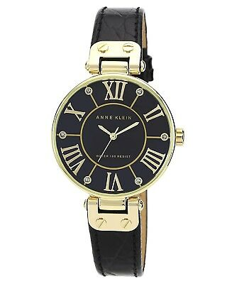 Anne Klein Women's AK/1396BMBK Gold-Tone Black Mother-Of-Pearl Dial Leather...
