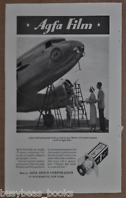 1935 AGFA Film advertisement, with photo of Eastern Air Lines DC-2 airplane