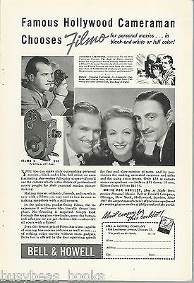 1938 Bell & Howell advertisement, FILMO Movie Camera, Joseph Valentine cameraman