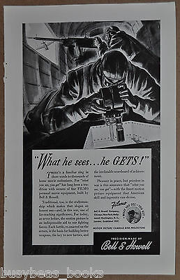 1942 Bell & Howell FILMO advertisement, movie camera in bomber, dogfight WWII