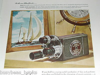 1948 Bell & Howell FILMO movie camera advertisement, racing yacht Edlu II
