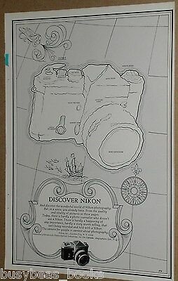 1968 Nikon Camera advertisement page, old map with NIKON camera-shaped island
