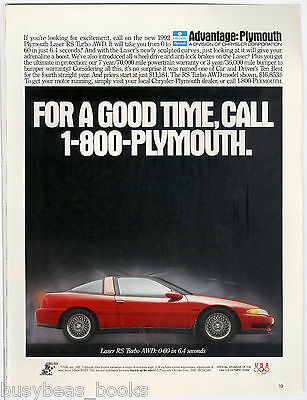 1992 PLYMOUTH LASER advertisement, Laser RS Turbo AWD