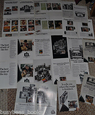 1970-74 Polaroid advertisement pages x17, POLAROID 320 to 450, SX-70 cameras etc