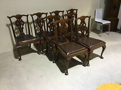 Antique Mahogany set of 8 dining chairs Chippendale Back Queen Anne leg