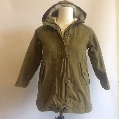 LB Next Girls Parka Winter Coat Jacket Fleece Lined Hood Khaki Green Age 7