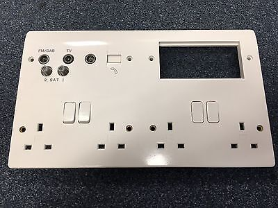 MK Electric K2740WHI 4g Double Pole 13 amp Combination Media Plate White Plastic