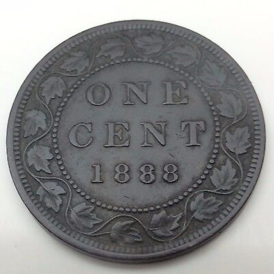 1888 Canada Copper One Large Cent Penny Circulated Canadian Coin C190