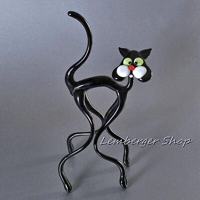 Glass figurine cat made of colored glass. Height 19 cm / 7.6 inch!