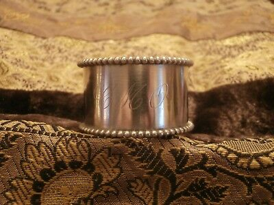Sterling Silver Napkin Ring Marked STERLING WWS Beaded Rim Monogram Initials
