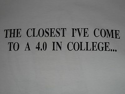 BLOOD ALCOHOL CONTENT 4.0, 90's OLD SCHOOL FUNNY COLLEGE SHIRT VINTAGE, (XL) NEW