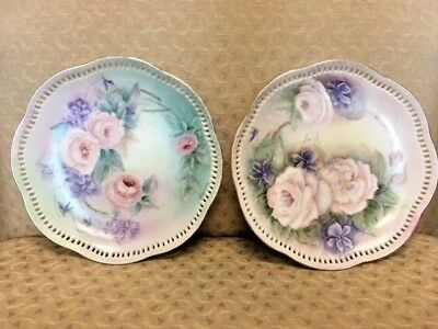Vintage Decorative Plates Hand Painted Set of Two, 8""