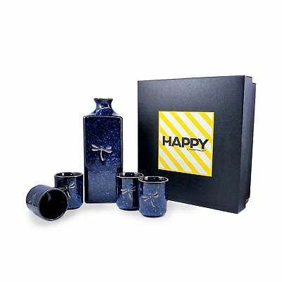 Happy Sales HSSS-DFS08  5 pc Japanese sake set Blue Dragonfly