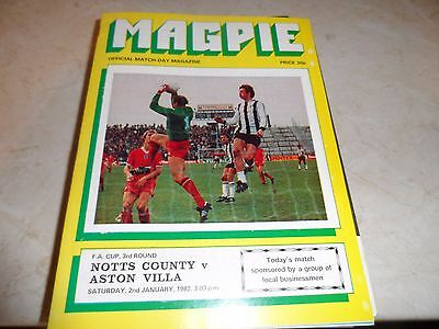 Notts Co v Aston Villa 1981/82 FA Cup