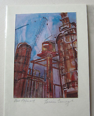 HANDMADE Blank CARDS x 2  from Original Painting OIL REFINERY  with envelope
