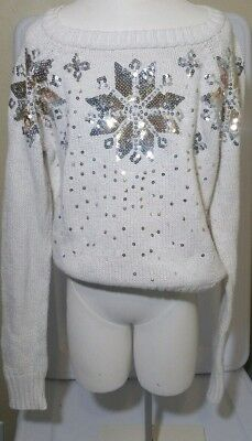 Justice Sequin Snow Flake Metallic Holiday Christmas Sweater Girls size 10