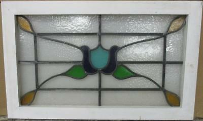 "MID SIZED OLD ENGLISH LEADED STAINED GLASS WINDOW Cute Floral 26.75"" x 16.5"""