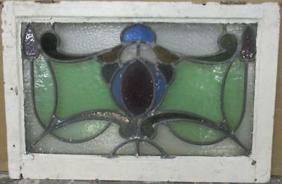 "MID SIZED OLD ENGLISH LEADED STAINED GLASS WINDOW Gorgeous Abs. 27.5"" x 18.25"""